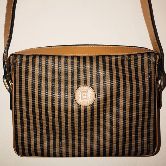 98b84d126d0 Fendi Bags   Vintage Stripe Canvas Leather Cross Body Bag   Poshmark